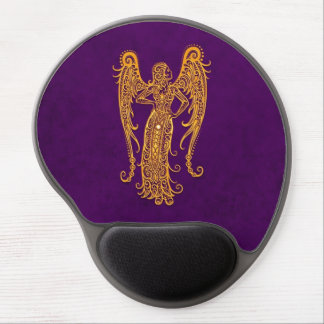 Intricate Yellow Virgo Zodiac on Purple Gel Mouse Pad