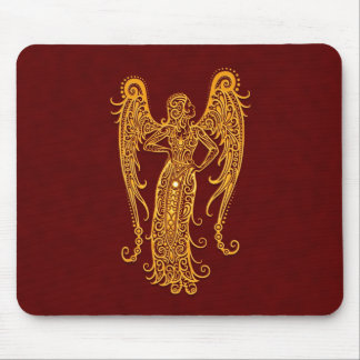 Intricate Yellow Virgo Zodiac on Red Mousepads