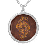 Intrictate Stone Pisces Symbol Custom Necklace