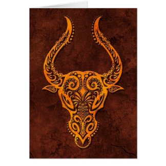 Intrictate Stone Taurus Symbol Greeting Cards