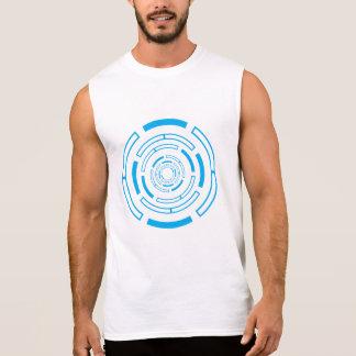 Intriguing blue circle sleeveless shirt