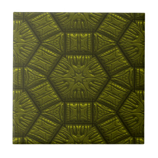 Intriguing shimmering Star Pattern,olive Small Square Tile
