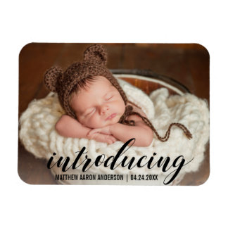 Introducing New Baby Hearts Announcement Photo Magnet