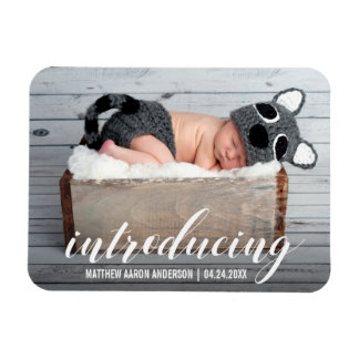 Introducing New Baby Hearts Announcement Photo W Magnet