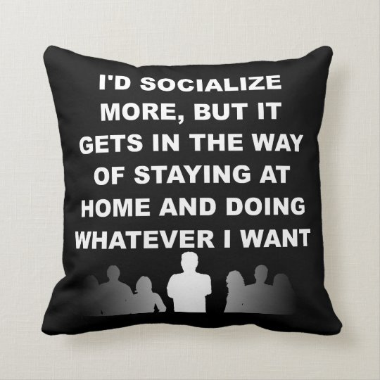 Introvert Pillow Reversible Funny Throw Cushion