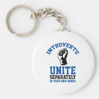 Introverts Unite Basic Round Button Key Ring