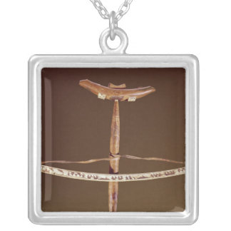 Inuit bow drill silver plated necklace