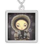 Inuit girl - snowflake fairy pendant