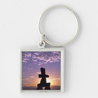 Inukshuk Northwest Territories, Canada Silver-Colored Square Key Ring
