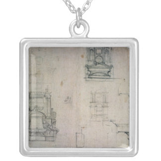 Inv. 1859 6-25-545. R.  Designs for tombs Silver Plated Necklace