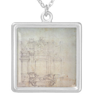 Inv. L859 6-25-823. R.  Design for a tomb Silver Plated Necklace