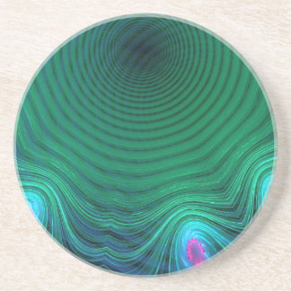 Invading Green Time Abstract Sandstone Coaster