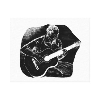 invert acoustic guitar pencil player sketch canvas print