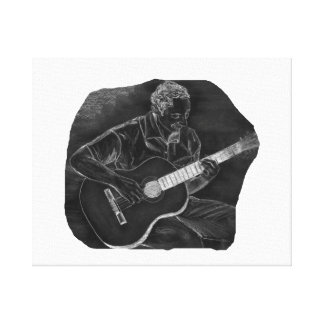 invert acoustic guitar player sit grey gallery wrap canvas