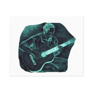 invert acoustic guitar player sitting pencil sketc canvas print