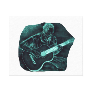 invert acoustic guitar player sitting pencil sketc stretched canvas print