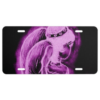 Inverted Angel in Black and Pink License Plate