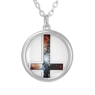 Inverted Cross Galaxy Cosmic Universe Silver Plated Necklace
