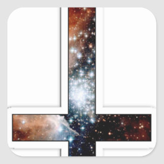 Inverted Cross Galaxy Cosmic Universe Square Sticker