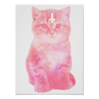 Inverted Cross Pastel Cat Poster