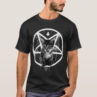 Inverted Cross & Pentagram Cat T-shirt