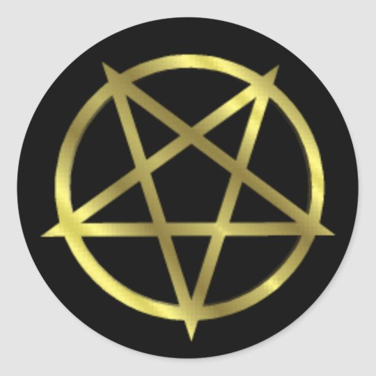 Inverted Gold Pentagram Classic Round Sticker