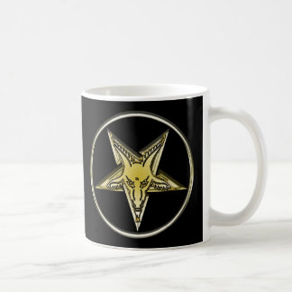Inverted Pentagram with Golden Goat Head Basic White Mug