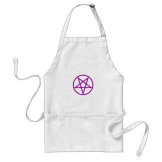 Inverted Purple Pentagram Gear Adult Apron