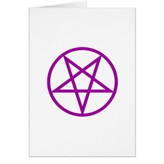 Inverted Purple Pentagram Gear Greeting Card