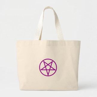 Inverted Purple Pentagram Gear Jumbo Tote Bag