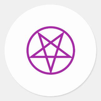 Inverted Purple Pentagram Gear Round Sticker