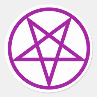 Inverted Purple Pentagram Gear Classic Round Sticker