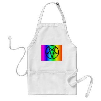 Inverted rainbow pentagram 2 gear adult apron