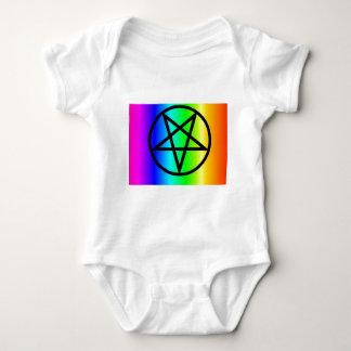 Inverted rainbow pentagram 2 gear baby bodysuit