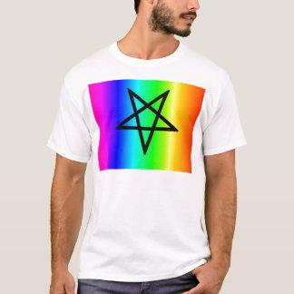 Inverted rainbow pentagram gear T-Shirt