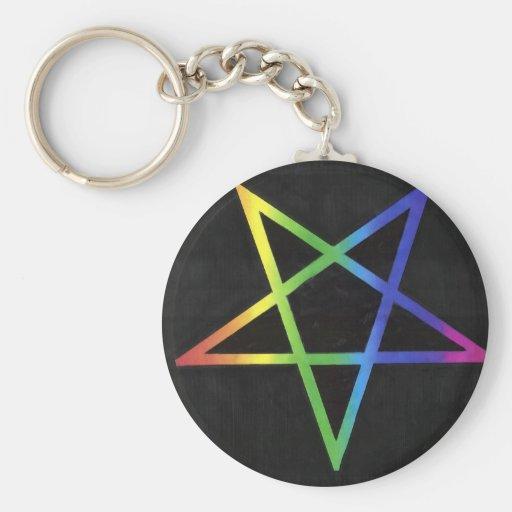 Inverted rainbow pentagram keyring keychains