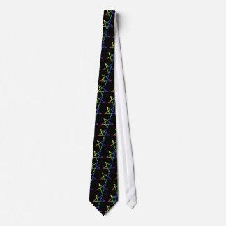 Inverted rainbow pentagram necktie