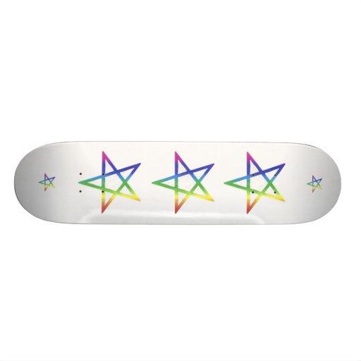 Inverted rainbow pentagram skateboard