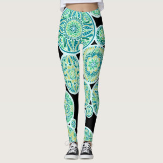 Inverted Sea Tone Mandalas Leggings