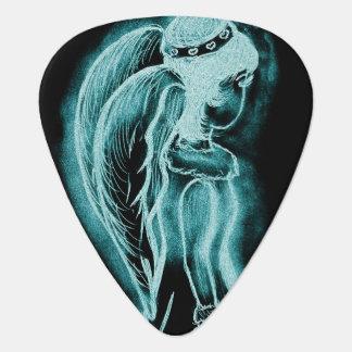 Inverted Sideways Angel in Aqua Guitar Pick