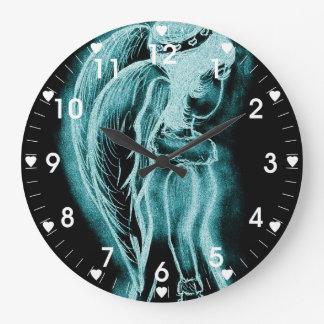 Inverted Sideways Angel in Aqua Large Clock