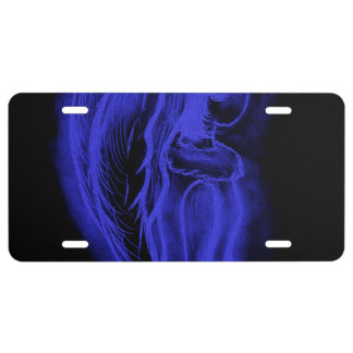 Inverted Sideways Angel in Black and Royal Blue License Plate