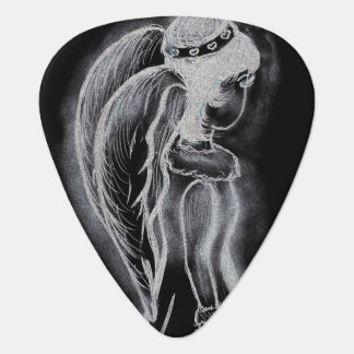 Inverted Sideways Angel in black and white Plectrum