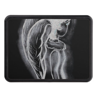 Inverted Sideways Angel in black and white Hitch Covers