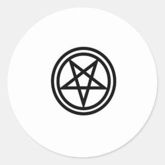 invertedpentagram,w round sticker