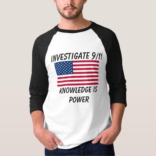 Investigate 9/11 - USA Flag - Baseball T-Shirt