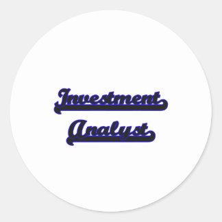 Investment Analyst Classic Job Design Round Sticker