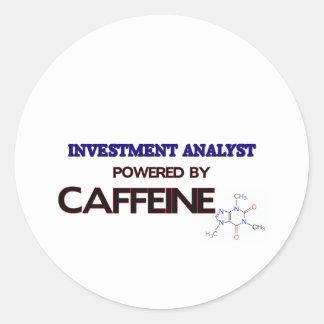 Investment Analyst Powered by caffeine Round Sticker