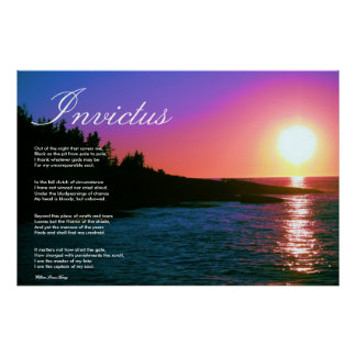 Invictus ~ Inspirational Poem ~ Canvas Poster