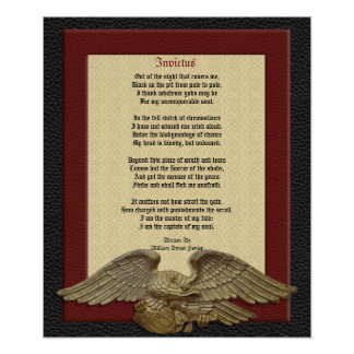 Invictus, poem leather with eagle poster